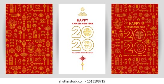 Line art vector set with Happy New Year 2020 cards, logo text design in Chinese style. Pattern of Chinese elements, Rat zodiac sign, symbol of 2020 on the Chinese calendar for New Year's design.