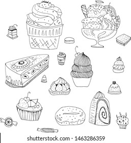 Line art vector set of sweets, cake, ice cream, candy, tea drinking, decoration. Decor for kitchen and children's room, wrapping paper, holiday card