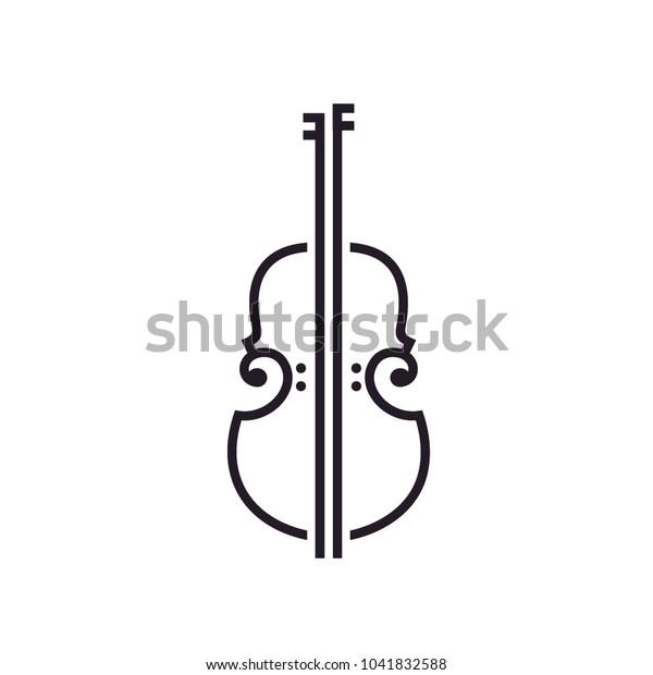 Line Art Violin Viola Fiddle Cello Stock Vector Royalty