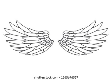Line art white bird angel fly wings isolated design vector illustration