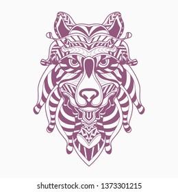 line art of wolf