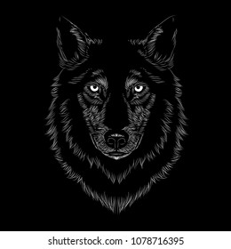 Line art Wolf face illustration on a black background