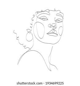 Line Art Woman Face Drawing. Black Woman Vector. Afro American Female Logo. Contouring Line. Minimalist Face. Beauty salon