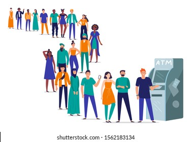 Line to ATM. People stand in queue, crowd waiting in line to withdraw money from bank card using ATM machine. Banking payment queueing, character wait for terminal transaction flat vector illustration