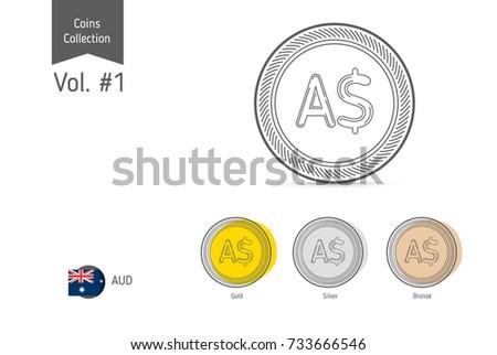 Line Australian Dollar Coin Vector Isolated Stock Vector (Royalty