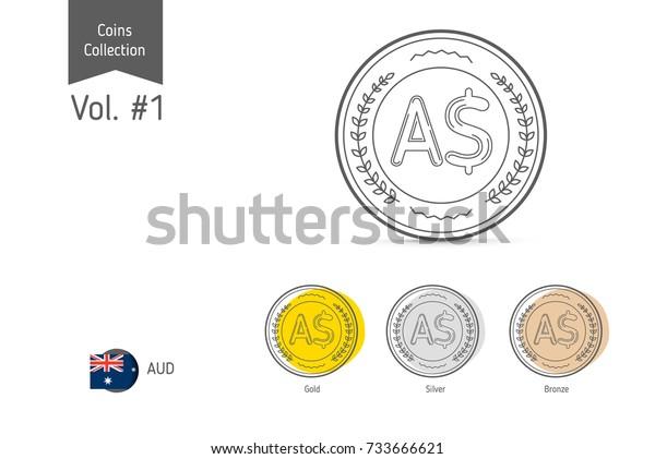 Line Australian Dollar Coin Vector Isolated Stock Vector