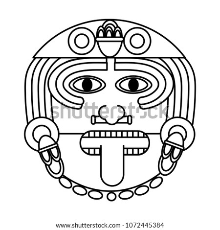 Line Aztec Sun God Culture Symbol Stock Vector Royalty Free