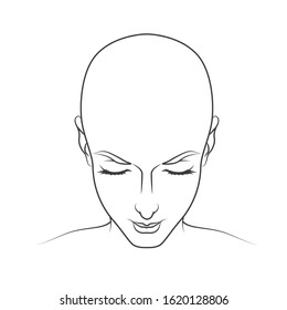 Line bald head of a woman or a monk on a white background