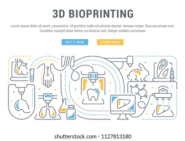 Line banner of 3D bioprinting. Vector illustration of the linear concept of the process creating the 3D model human organs and cells of living organisms.