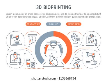 Line banner of 3D bioprinting. Vector illustration of the 3D model human organs.