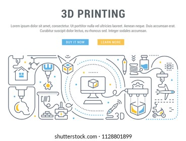 Line banner of 3D printing. Vector illustration of the linear concept of the process creating the 3D model cube, transports, buildings and medicine objects.
