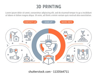 Line banner of 3D printing. Vector illustration of 3D printing process.