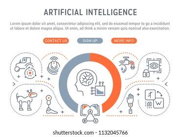 Line banner of artificial intelligence. Vector illustration of robots, technics and scientific development.