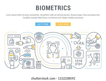 Line banner of biometrics. Vector illustration of the biometric technology.