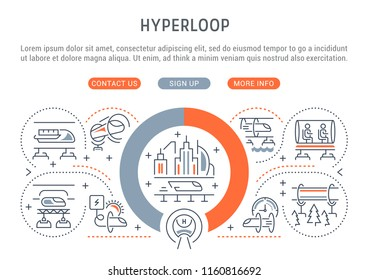 Line banner of hyperloop. Vector illustration of the linear concept of the vactrain.