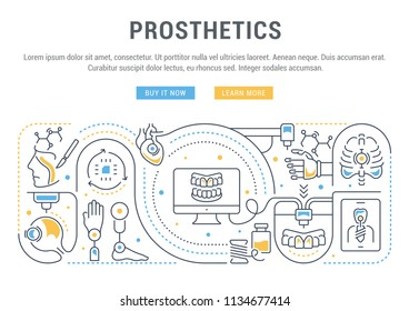 Line banner of prosthetics. Vector illustration of the production of human prostheses.