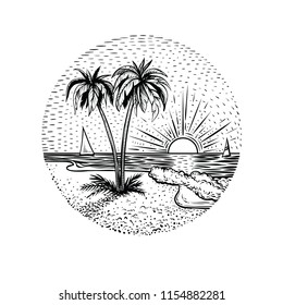 Line beach landscape with palms and sunset. Black graphic island illustration on white backgraund. Round emblem, card, tattoo or logo element.