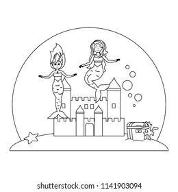 line beauty mermaids under water with castle and coffer