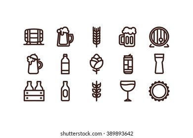 Line beer icons on a white background. Color. Stock vector.
