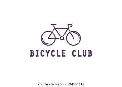 Line bicycle logo. Stock vector.