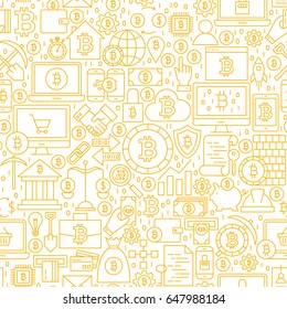 Line Bitcoin White Seamless Pattern. Vector Illustration of Outline Tile Background. Cryptocurrency Financial Items.