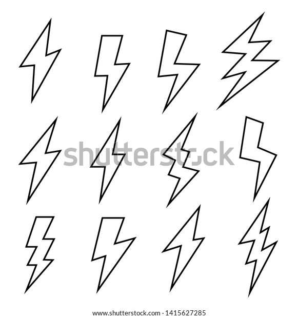line black icons thunder lightning vector stock vector royalty free 1415627285 shutterstock
