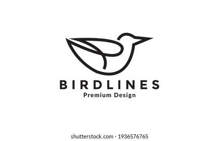 line bold art bird fly logo vector symbol icon illustration design
