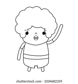 line boy with curly hair and amazed face