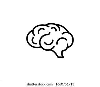 Line Brain icon isolated on white background. Outline symbol for website design, mobile application, ui. Brain pictogram. Vector illustration, editorial stroke. Eps10