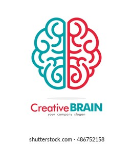 LINE BRAIN IDEA CREATIVE LOGO ICON TEMPLATE TOP VIEW TWO COLOR