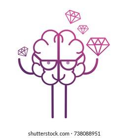 line brain kawaii with dimonds icon