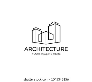 Line buildings logo template. Abstract commercial real estate vector design. Cityscape logotype