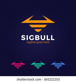 Line Bull Logo. Buffalo head silhouette. Vector bull logo template.
