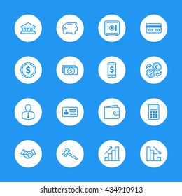 line business commercial and finance icon set on white circle for web design, user interface (UI), infographic and mobile application (apps)