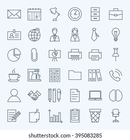 Line Business Office Icons Set. Vector Set of Modern Thin Outline Working Place and Job Items.