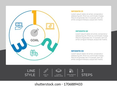 line business timeline infographic vector design with colorful concept for presentation. line style timeline infographic can be printed on brochure and banner.
