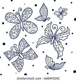 Line butterfly. Cute vector set.