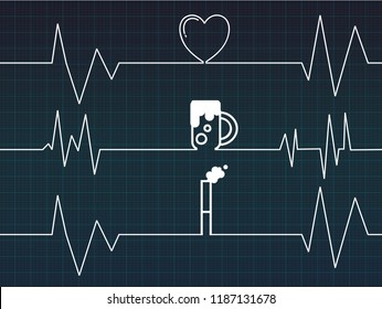 Line of cardiogram with heart and beer and cigarette on Blue background