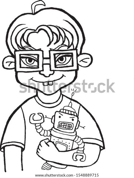 Girl Wearing Eyeglasses Coloring Page Stock Illustration ... | 620x466
