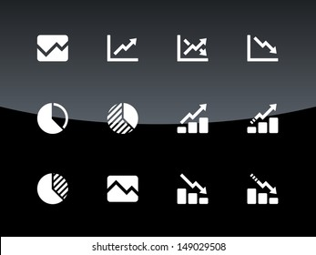 Line chart and Diagram icons on black background. Vector illustration.