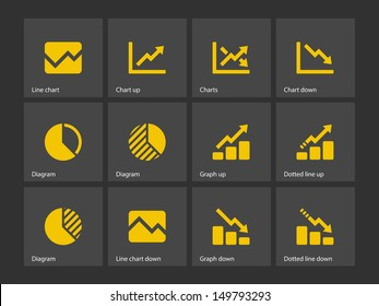 Line chart and Diagram icons. Vector illustration.