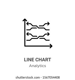 Line chart outline vector icon. Thin line black line chart icon, flat vector simple element illustration from editable analytics concept isolated on white background