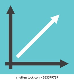 Line chart showing direct proportionality with two coordinate axes on turquoise blue background. Linear growth, analysis and success concept. Flat design. EPS 8 vector illustration, no transparency