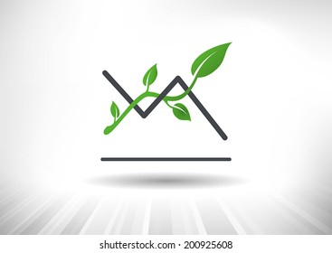 Line chart with trendline and green leaves. Background and chart on separate layers.