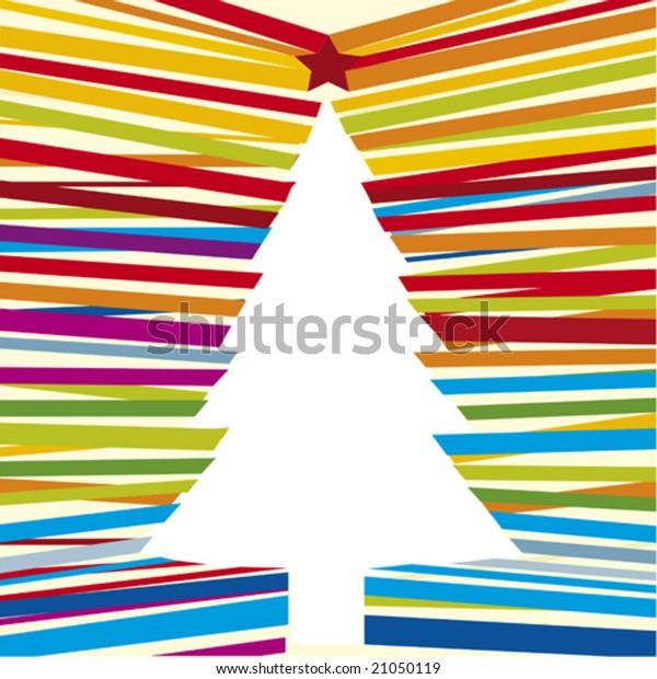 Line Christmas Tree Cmyk Mode Global Stock Vector Royalty Free 21050119