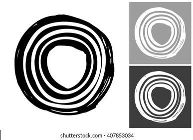 Line circle vector hand drawn graphic image. Label with minimalistic shape line circle. Isolated element on white, gray and black background. Paint imitation.