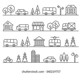 Line city illustration. Vector urban landscape. Architecture town, cityscape street illustration