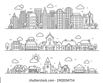 Line city, town and village. Landscape panoramas with skyscrapers, cottages and countryside houses. Urban and rural streets vector concept. Urban building line, house architecture