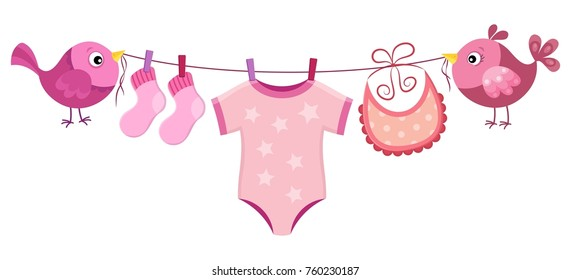Line with clothing for baby girl - eps10 vector illustration.