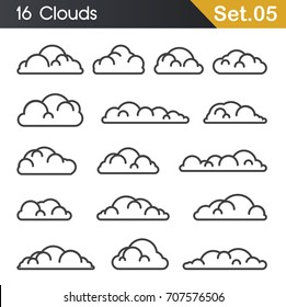 Line clouds on white background